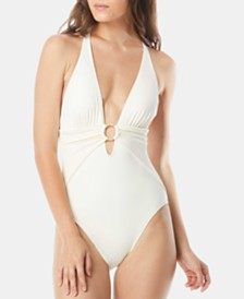 Carmen Marc Valvo Plunge Halter One-Piece Swimsuit