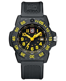 Men's Navy Seal 3500 Black Carbon Yellow Accent Dial Strap Watch