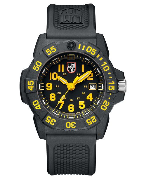 Luminox Men's Navy Seal 3500 Black Carbon Yellow Accent Dial Strap Watch