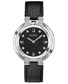 Women's Rubaiyat Diamond-Accent Black Leather Strap Watch 35mm