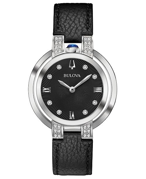 Bulova Women's Rubaiyat Diamond-Accent Black Leather Strap Watch 35mm