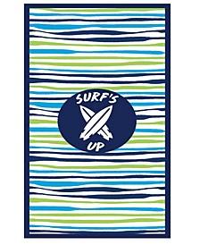 Premium High Performance Large Beach  Pool Towel Surf's Up Wavy Stripe, Blue By MinxNY
