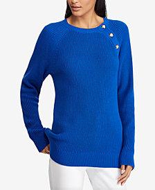 Lauren Ralph Lauren Button-Trim Cotton Sweater