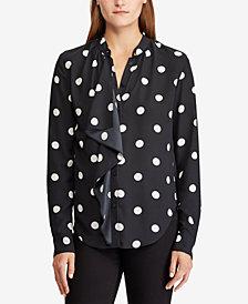 Lauren Ralph Lauren Polka-Dot Georgette Shirt