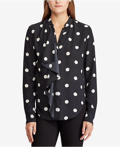 2d8a953e2e326 Lauren Ralph Lauren Polka-Dot Georgette Shirt   Reviews - Tops ...