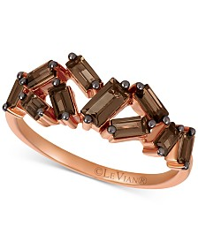 Le Vian Baguette Frenzy™ Smoky Quartz Ring (7/8 ct. t.w.) in 14k Rose Gold