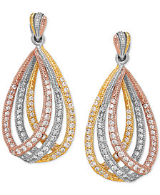 Cubic Zirconia Tricolor Triple Loop Drop Earrings in Sterling Silver, Gold- and Rose Gold-Plate