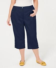 ffebeaa6eb0e8 Karen Scott Plus Size Button-Cuff Capri Pants