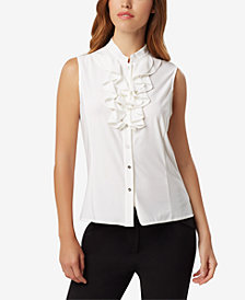 Tahari ASL Double-Ruffle Button-Up Blouse