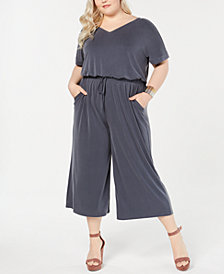 Style & Co Plus Size Cropped Knit Jumpsuit, Created for Macy's