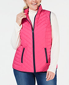 Charter Club Plus Size Contrast-Trim Vest, Created for Macy's