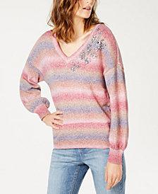 I.N.C. Gemstone Embellished Puff-Sleeve Sweater, Created for Macy's