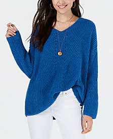 Style & Co Petite Chenille V-Neck Sweater, Created for Macy's