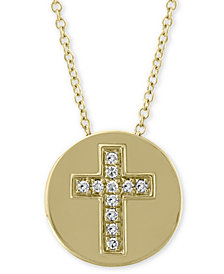 "EFFY® Diamond Accent Cross Disc 18"" Pendant Necklace in 14k Gold"