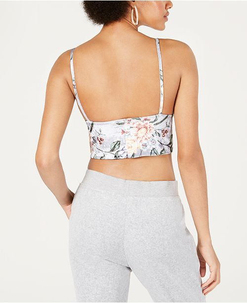 0b598c80b86b6a PROJECT 28 NYC Floral-Print Crushed-Velvet Bralette   Reviews - Tops ...