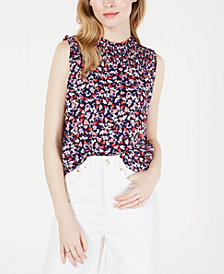 Maison Jules Printed Sleeveless Smocked Top, Created for Macy's