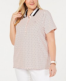 Plus Size Dot-Print Polo Top, Created for Macy's