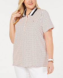 Tommy Hilfiger Plus Size Dot-Print Polo Top, Created for Macy's