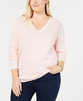 2b1746714b0 Tommy Hilfiger Cotton Plus Size V-Neck Sweater