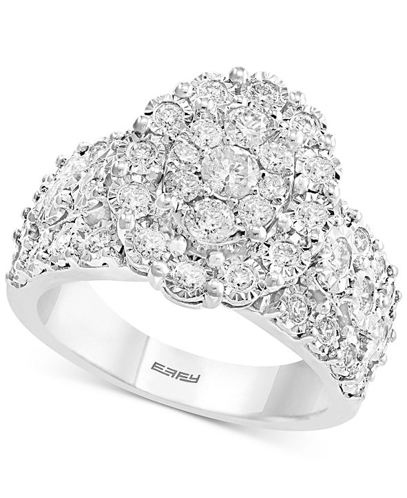 EFFY Collection EFFY® Diamond Oval Cluster Ring (9/10 ct. t.w.) in 14k White Gold