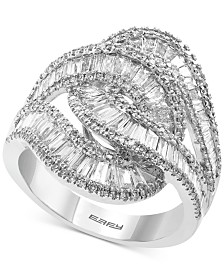EFFY® Diamond Baguette Interlocking Swirl Statement Ring (1-3/4 ct. t.w.) in 14k White Gold