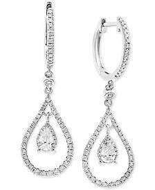 EFFY® Diamond Teardrop Hoop Drop Earrings (3/4 ct. t.w.) in 14k White Gold