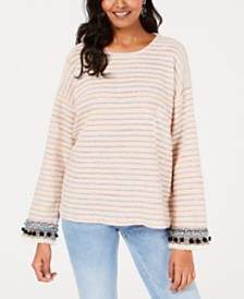 Style & Co Textured-Stripe Fringe-Trim Top, Created for Macy's