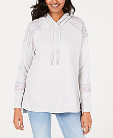 Style & Co Cotton Embellished Hoodie Sweatshirt, Created for Macy's