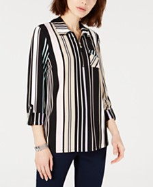 Tommy Hilfiger Half-Zip Striped Blouse, Created for Macy's