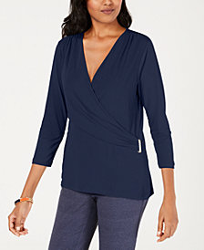 Charter Club Knit Crossover Top, Created for Macy's