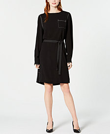 Tommy Hilfiger Topstitched Belted Shift Dress, Created for Macy's
