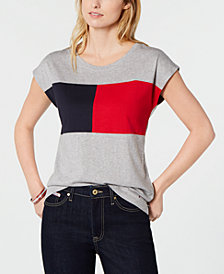 Tommy Hilfiger Colorblock Cap-Sleeve T-Shirt, Created for Macy's