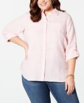 150db468d95 Charter Club Plus Size Linen Utility Shirt