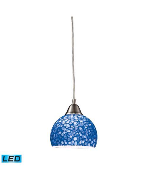 ELK Lighting Cira 1-Light Pendant in Satin Nickel with Pebbled Blue Glass - LED Offering Up To 800 Lumens (60 Watt Equivalent)