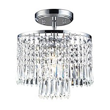 Optix Collection 1-Light Flush Mount with 32% Lead Crystal and Polished Chrome Finish