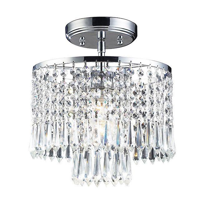 ELK Lighting Optix Collection 1-Light Flush Mount with 32% Lead Crystal and Polished Chrome Finish