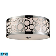 Retrovia 3-Light Flush Mount in Polished Nickel - LED, 800 Lumens (2400 Lumens Total) with Full Scale Dimming Range