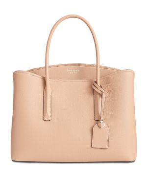 Large Margaux Leather Satchel - Beige in Light Fawn/Gold