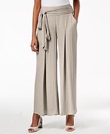 Alfani Wide-Leg Tie-Waist Washed Satin Pants, Created for Macy's