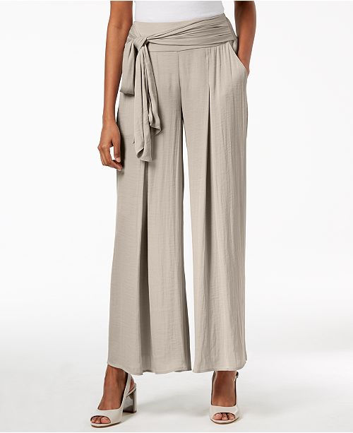 Wide-Leg Tie-Waist Washed Satin Pants, Created for Macy's