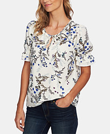 CeCe Floral Vine Ruffled Top