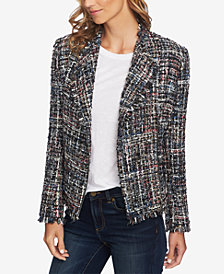 CeCe Multicolored Tweed Moto Jacket