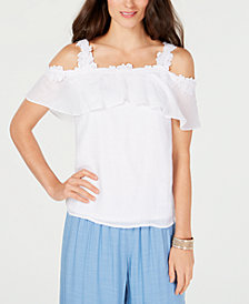 Thalia Sodi Crochet Off-The-Shoulder Top, Created for Macy's