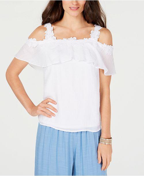 29af4f544e9c8 ... Thalia Sodi Crochet Off-The-Shoulder Top