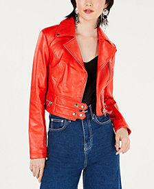 Bar III Cropped-Faux-Leather Moto Jacket, Created for Macy's