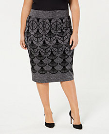 Alfani Plus Size Printed Skirt, Created for Macy's
