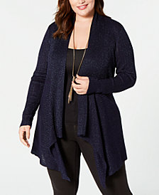 Belldini Plus Size Glitter Draped Open-Front Cardigan