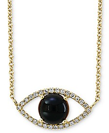 "EFFY® Onyx (6mm) & Diamond (1/10 ct. t.w.) Evil Eye Pendant Necklace in 14k Gold, 14-1/2"" + 2"" extender"