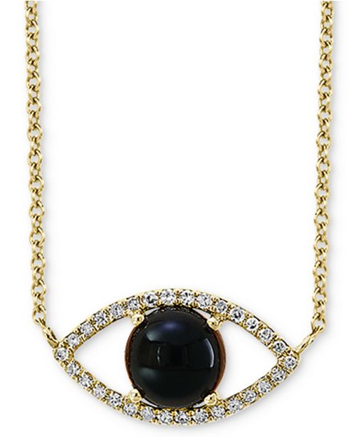 "EFFY Collection EFFY® Onyx (6mm) & Diamond (1/10 ct. t.w.) Evil Eye Pendant Necklace in 14k Gold, 14-1/2"" + 2"" extender"