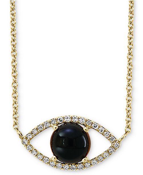 "EFFY Collection EFFY® Onyx (6mm) & Diamond (1/10 ct. t.w.) Evil Eye Pendant Necklace in 14k Gold, 14-1/2"" + 2"" extender"